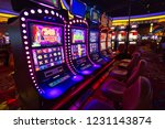 Las Vegas, Nevada-March 10, 2017: Casino machines in the entertainment area at night - stock photo