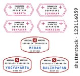 Travel stamps from Indonesia. Grungy stamps (not real). Indonesian destinations: Jakarta, Surabaya, Denpasar, Makassar, Medan, Yogyakarta and Balikpapan.