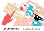 social media on mobile device ... | Shutterstock .eps vector #1231162111