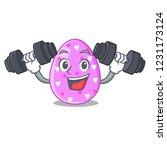 fitness easter egg cartoon... | Shutterstock .eps vector #1231173124