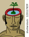 man with island and palm in mind - stock vector