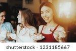 springtime girls in red t shirt ...   Shutterstock . vector #1231185667