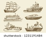 set of hand drawn sea boats ... | Shutterstock .eps vector #1231191484