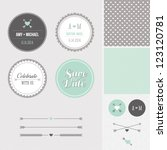 Mint + Gray Save the Date Wedding Graphic Set - stock vector