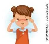 little girl crying . children's ... | Shutterstock .eps vector #1231212601