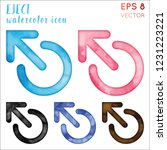 eject watercolor icon set.... | Shutterstock .eps vector #1231223221