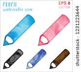 pencil watercolor icon set.... | Shutterstock .eps vector #1231223644