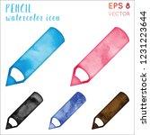 pencil watercolor icon set.... | Shutterstock .eps vector #1231223644