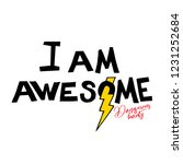 typography slogan i am awesome. ...   Shutterstock .eps vector #1231252684