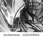 abstract black and white waves  ... | Shutterstock . vector #1231259641
