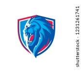 Stock vector vector lion head roaring illustration for esports gaming logo 1231261741