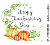 watercolor pumpkin and autumn... | Shutterstock .eps vector #1231261897