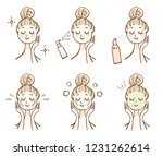 a woman with facial skin care | Shutterstock .eps vector #1231262614