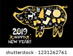 happy chinese new year 2019... | Shutterstock .eps vector #1231262761