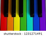 a rainbow colored piano keyboard | Shutterstock . vector #1231271491