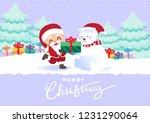 merry christmas polar bears... | Shutterstock .eps vector #1231290064