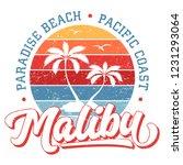 paradise beach malibu   tee... | Shutterstock .eps vector #1231293064