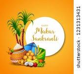 happy makar sankranti greeting...   Shutterstock .eps vector #1231313431