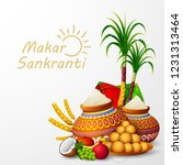 happy makar sankranti greeting... | Shutterstock .eps vector #1231313464