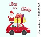 santa with a piglet on the car... | Shutterstock . vector #1231325647
