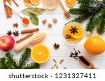 christmas hot white mulled wine ... | Shutterstock . vector #1231327411
