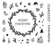 hand drawn christmas wreath and ... | Shutterstock .eps vector #1231336921