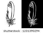 feather black and white  tattoo ... | Shutterstock .eps vector #1231390294