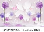 Stock photo  d illustration light background white paper flowers pink butterflies colorful dandelions 1231391821