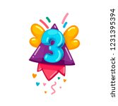 kids cartoon 3 numbers fly... | Shutterstock .eps vector #1231395394