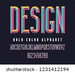 colorful condensed bold font.... | Shutterstock .eps vector #1231412194