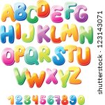 alphabet and numbers | Shutterstock .eps vector #123143071