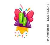 cartoon kids rocket fly four... | Shutterstock .eps vector #1231432147