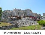 ancient ruin buildings at tulum ... | Shutterstock . vector #1231433251