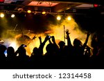 Rock concert - party in rock club - stock photo