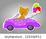 vector cute bear in car ... | Shutterstock .eps vector #123146911