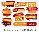 sticker sale set with abstract... | Shutterstock .eps vector #1231489534