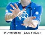 doctor pushing button cloud... | Shutterstock . vector #1231540384