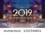 golden happy new year 2019 with ... | Shutterstock .eps vector #1231546831