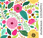 cute retro seamless pattern... | Shutterstock . vector #1231565911
