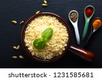 food concept cooked couscous in ... | Shutterstock . vector #1231585681