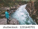 man traveler hiking travel... | Shutterstock . vector #1231640701
