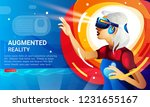 virtual reality glasses  girls ... | Shutterstock .eps vector #1231655167