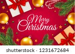 merry christmas gift box... | Shutterstock .eps vector #1231672684