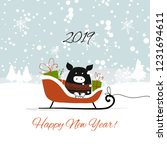 christmas card  santa pig in... | Shutterstock .eps vector #1231694611