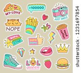 fashioned girl badges  cute... | Shutterstock . vector #1231697854