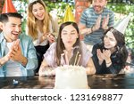 cheerful friends clapping for... | Shutterstock . vector #1231698877