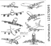 set of airplane hand drawn... | Shutterstock .eps vector #123170095