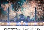 beautiful fireworks above... | Shutterstock . vector #1231712107