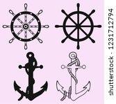 ships anchor and ships wheel... | Shutterstock .eps vector #1231712794