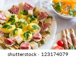 closeup of appetizers with shallow depth of field - stock photo